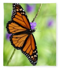 Monarch Butterfly In Spring Fleece Blanket