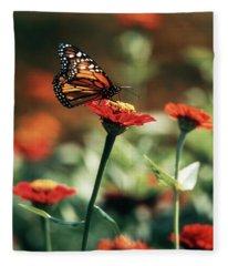 Monarch Butterfly On Orange Zinnia Fleece Blanket