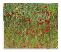Monet Poppies IIi Fleece Blanket