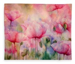 Monet's Poppies Vintage Warmth Fleece Blanket