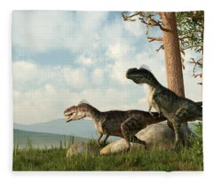 Monolophosaurs On The Hunt Fleece Blanket
