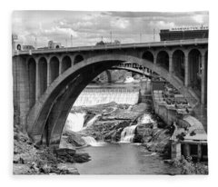 Monroe St Bridge Of Spokane Fleece Blanket