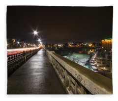 Monroe Street View - Spokane Fleece Blanket
