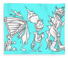 Monster Queue Blue Fleece Blanket
