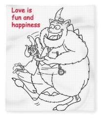 Monster Valentine Fleece Blanket