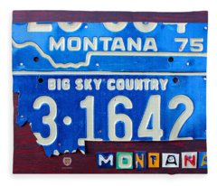 Montana License Plate Map Fleece Blanket