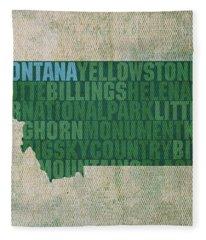 Montana Word Art State Map On Canvas Fleece Blanket