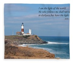 Montauk Lighthouse/camp Hero/inspirational Fleece Blanket
