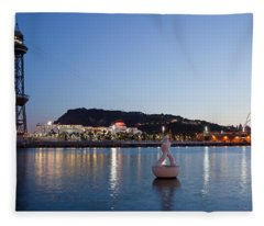 Montjuic And Torre Jaume I At Dusk In Barcelona Fleece Blanket