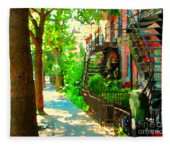 Montreal Art Colorful Winding Staircase Scenes Tree Lined Streets Of Verdun Art By Carole Spandau Fleece Blanket