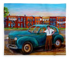 Montreal Taxi Driver 1940 Cab Vintage Car Montreal Memories Row Houses City Scenes Carole Spandau Fleece Blanket