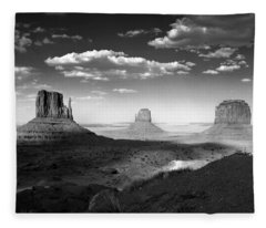 Monument Valley In Black And White Fleece Blanket