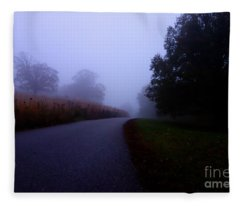 Moody Autumn Pathway Fleece Blanket