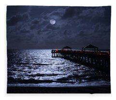 Moon And Sea Fleece Blanket