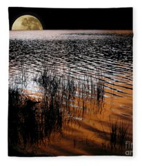 Moon Catching A Glimpse Of Sunset Fleece Blanket