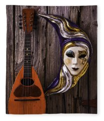 Moon Mask And Mandolin Fleece Blanket