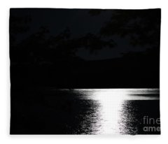 Moon On Waterton Lake Fleece Blanket