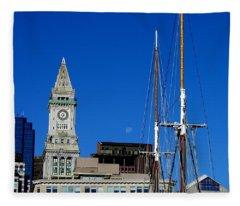 Moon Over Boston Fleece Blanket