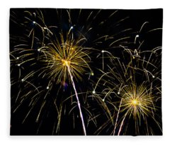 Moon Over Golden Starburst- July Fourth - Fireworks Fleece Blanket