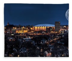 Moon Over The Carrier Dome Fleece Blanket