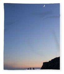 Moon Over Vik Fleece Blanket