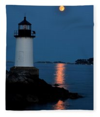 Moon Over Winter Island Salem Ma Fleece Blanket