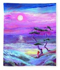 Moon Pathway,seascape Fleece Blanket