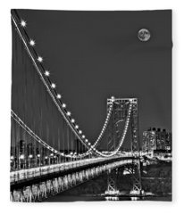 Moon Rise Over The George Washington Bridge Bw Fleece Blanket