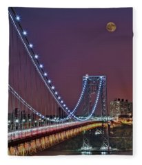 Moon Rise Over The George Washington Bridge Fleece Blanket