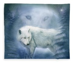 Moon Spirit 2 - White Wolf - Blue Fleece Blanket