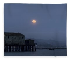 Moonrise Over The Harbor Fleece Blanket