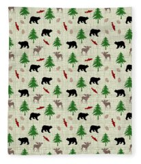 Moose And Bear Pattern Fleece Blanket