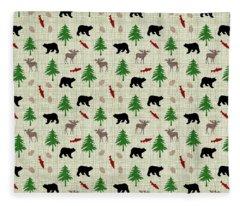 Moose And Bear Pattern Fleece Blanket