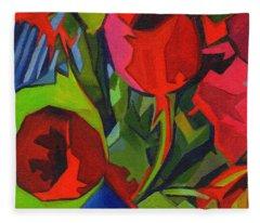More Red Tulips  Fleece Blanket