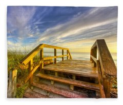 Morning Beach Walk Fleece Blanket