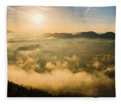 Morning Fog In The Saxon Switzerland Fleece Blanket