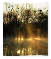 Morning Fog Rising Fleece Blanket