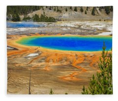 Grand Prismatic Geyser Yellowstone National Park Fleece Blanket