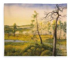 Morning Swamp Fleece Blanket