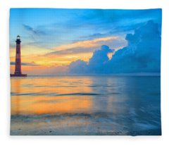 Morris Island Lighthouse Fleece Blanket