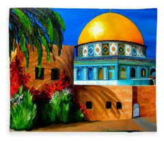 Mosque - Dome Of The Rock Fleece Blanket