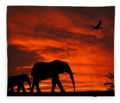 Mother And Baby Elephants Sunset Silhouette Series Fleece Blanket