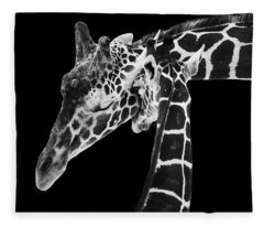 Mother And Baby Giraffe Fleece Blanket