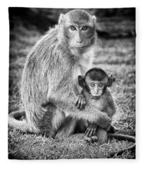 Mother And Baby Monkey Black And White Fleece Blanket