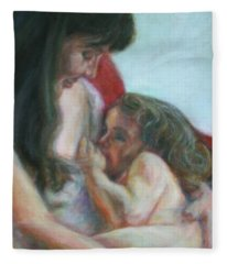 Mother And Child - Detail Fleece Blanket
