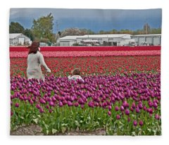 People In Tulip Fields Art Prints Fleece Blanket