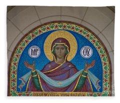 Mother Of God Mosaic Fleece Blanket