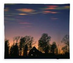 Mother Of Pearl Clouds Fleece Blanket