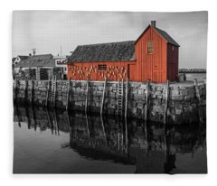 Motif No 1 Black And White Fleece Blanket