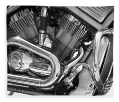 Motorcycle Close-up Bw 1 Fleece Blanket